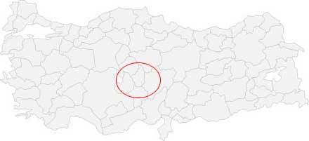 Cappadocia area on the Turkey map