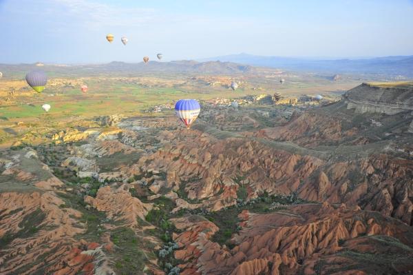 Ballons over cappadocia valleys